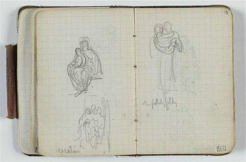 Etude de femme portant un enfant dans ses bras et annotations manuscrites