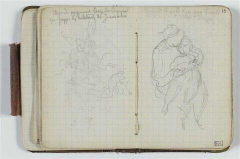 Esquisse avec figure ailée et annotation manuscrite