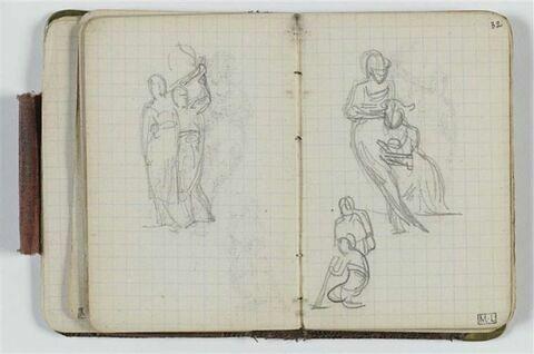 Deux études de compositions avec deux figures dont une assise
