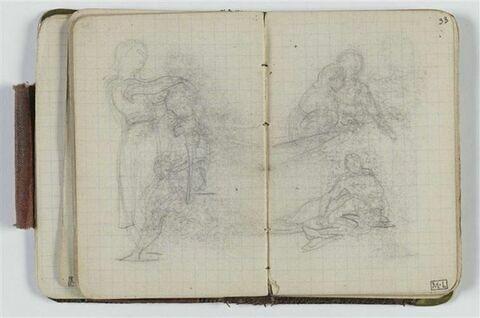 Etude de composition avec deux figures dont l'une est assise