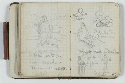 Etude de figure dans un paysage et annotation manuscrite