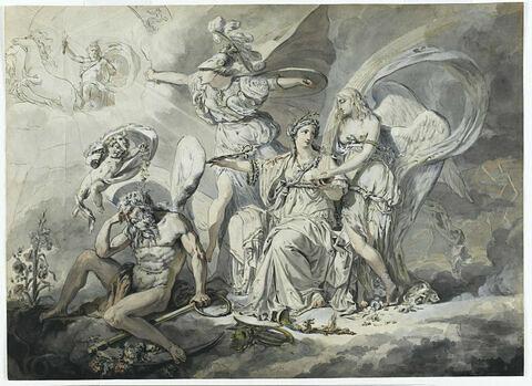 Allégorie avec Clio entourée de Minerve, Apollon, Chronos et la Renommée