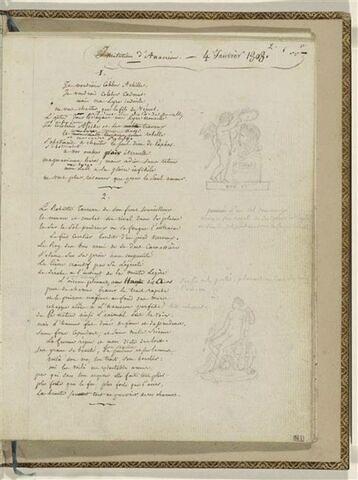 Traduction en français des Odes 1 et 2 d'Anacréon et 2 dessins