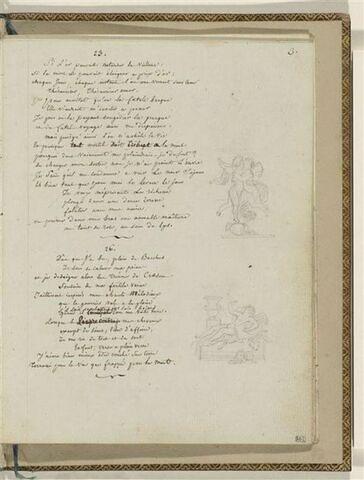 Traduction en français des Odes 23 et 26 d'Anacréon et 2 dessins