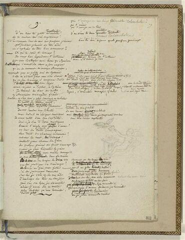 Traduction en français de l'Ode 9 d'Anacréon et 1 dessin