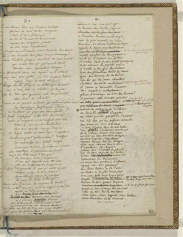 Traduction en français d'une Ode d'Anacréon et 1 dessin