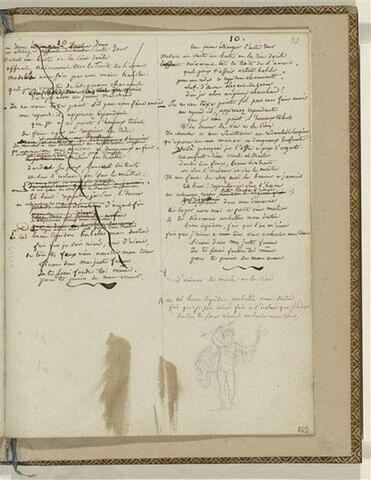 Traduction en français de l'Ode 10 d'Anacréon et 1 dessin