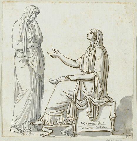 Deux femmes devisant, l'une debout, l'autre assise