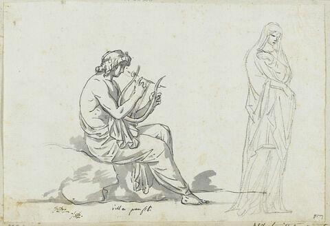 Jeunne homme assis jouant de la lyre et femme drapée, tournée vers la droite