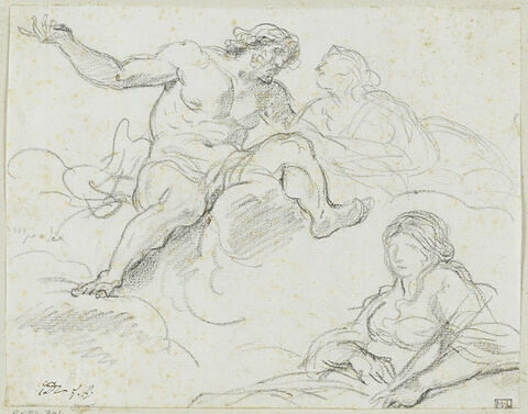 Un dieu et une femme sur un nuage ; femme accoudée