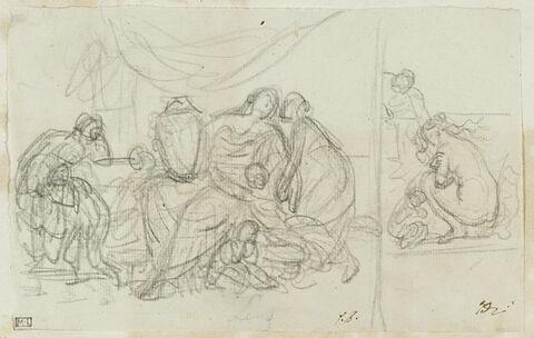 Agrippine pleurant sur l'urne funéraire de son époux ; Vénus frileuse