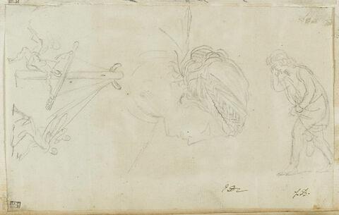 Homme marchant vers la gauche ; tête de femme ; scène de martyre