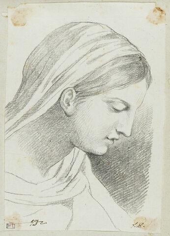 Tête de Vierge, vue de profil et tournée vers la droite