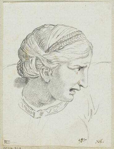Tête de femme, vue de profil et tournée vers la droite