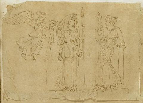 Femme ailée, femme armée et femme debout tenant un miroir