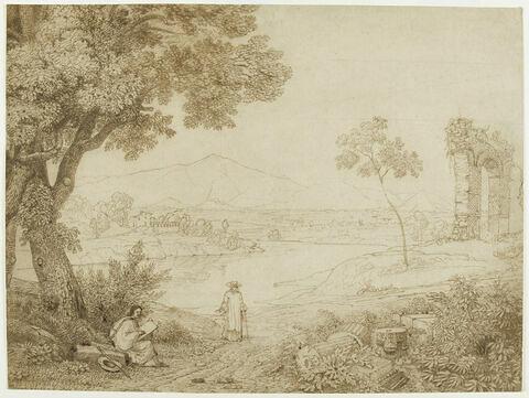 Nicolas Poussin dessinant dans la campagne romaine