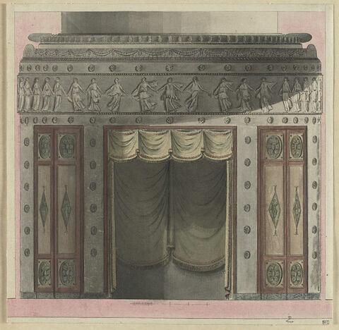 Projet de décor de boiserie au rideau avec en partie haute une frise de danseuse drapée à l'antique