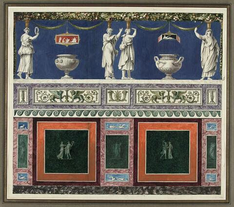 Projet de décor de boiserie aux caryatides avec deux grands vases antique en partie haute