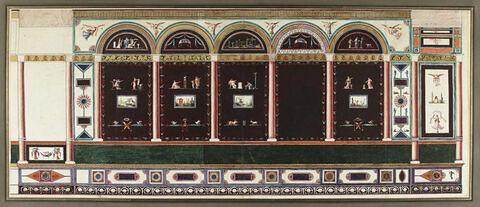 Projet de large décor mural aux colonnades : cinq panneaux verticaux surmontés de scènes antiques semi circulaires sur fond sombre