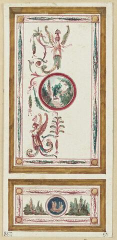 Projet de décor de boiserie : panneau vertical orné d'un médaillon avec paysage surmonté d'une figure ailée. Soubassement orné d'une figure ailée