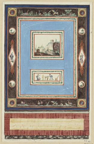 Projet de décor de boiserie : grand panneau vertical avec deux scènes superposées dont un paysage avec une cascade, sur fond bleu. Motifs décoratifs (plantes et personnages) sur les côtés dans des médaillons circulaires ou hexagonaux, sur fond clair