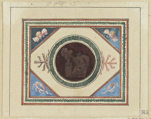 Projet de décor de boiserie : panneau rectangulaire (en largeur) orné d'un médaillon circulaire avec scène antique sur fond sombre. Angles ornés de deux têtes ailées et de deux couronnes