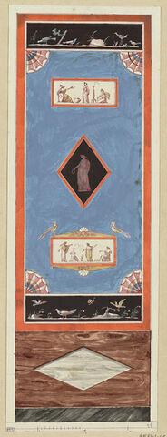 Projet de décor de boiserie : grand panneau vertical bleu orné au centre d'un médaillon en losange avec figure féminine drapée, surmonté d'un panneau rectangulaire ( en largeur) avec une scène antique ayant pour pendant, en bas, le même motif