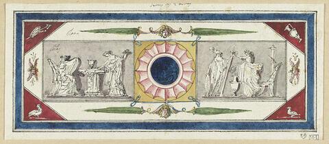 Projet de décor de boiserie avec deux scènes rectangulaires en grisaille de par et d'autre d'une sorte de cocarde (?) : à gauche, deux femmes drapées à l'antique près d'une table, à gauche, figure féminine drapée à l'antique offrant une couronne à un guerrrier casqué