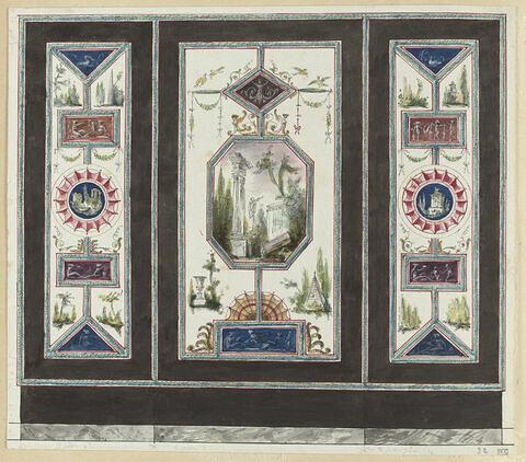 Projet de décor de boiserie en trois compartiments verticaux séparés par des bandes vertes sur fond noir. Au centre, paysage avec une statue et des ruines antiques, entre un médaillon en losange, en haut, à motif décoratif sur fond brun, et un bandeau en bas orné de quatre figures féminines drapées sur fond bleu. Panneaux latéraux à motif de cocarde (?), bandeaux et médaillons triangulaires ornés de figures féminines drapées, sur fond bleu, rouge ou brique