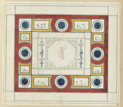 Projet de décor de plafond (?) avec au centre une figure féminine ailée, drapée. Grande bordure à médaillons circulaires ornés de figures féminines drapées, sur fond bleu, et compartiments ornés de putti sur fond clair