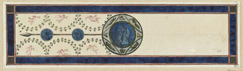 Projet de décor de boiserie : panneau horizontal avec au centre un médaillon circulaire orné d'une figure féminine, sur fond bleu.
