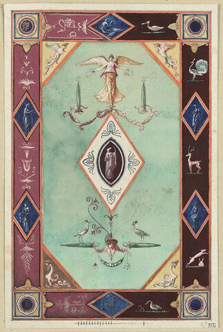 Projet de décor de boiserie : panneau vertical sur fond vert clair avec au centre un médaillon en losange orné d'une figure féminine drapée à l'intérieur d'un ovale, sur fond marron