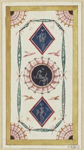 Projet de décor de boiserie : panneau vertical avec au centre une cocarde surmontée en haut d'un losange sur fond bleu avec une figure féminine. Bande jaune tout autour