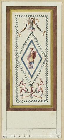 Projet de décor de boiserie : panneau vertical avec une figure féminine dans un losange surmonté d'une figure féminine ailée, le tout encadré d'une guirlande de feuilles. Double encadrement jaune et brun