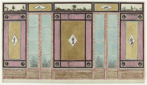 Projet de décor de boiserie aux portes-fenêtres entre trois panneaux verticaux sur fond ocre à bordure rose. Au centre de chaque panneau, dans un losange, figures féminines grapées.
