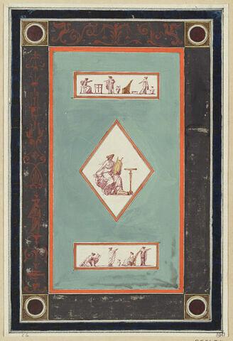 Projet de décor de boiserie : grand panneau vertical sur fond vert avec au centre une figure féminine dans un losange, entre deux bandeaux sur fond clair orné de scènes antiques.