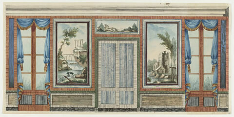 Projet de décor de boiserie aux portes-fenêtres ornées de rideaux bleus