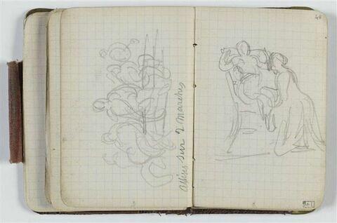 Etude avec groupe de figures ; annotations manuscrites