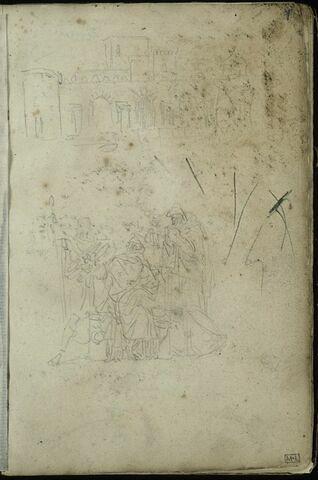 Deux croquis : en haut, architecture antique avec une porte ; au centre, groupe de personnages dont trois drapés à l'antique