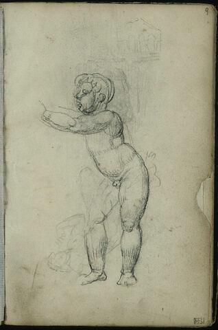 Enfant nu, debout, de trois-quarts à gauche, petit croquis d'architecture et personnage allongé d'après L'Aurore de Michel-Ange