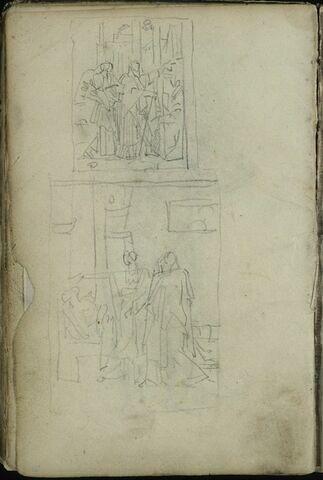 Deux petites scènes avec trois personnages drapés sur fond d'architecture