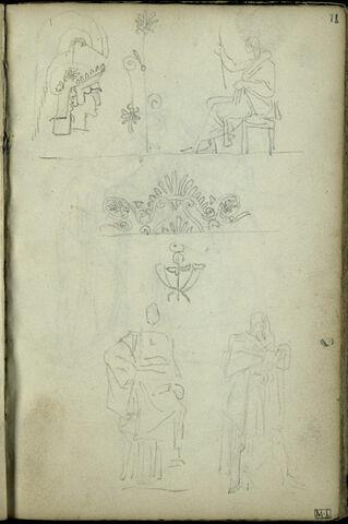 Croquis d'après l'antique, sur trois registres : tête casquée, personnages drapés, motifs décoratifs