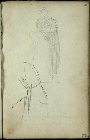 En haut, croquis d'un personnage drapé, la tête de trois-quarts à gauche ; en bas, croquis inachevé d'un torse ou d'une manche