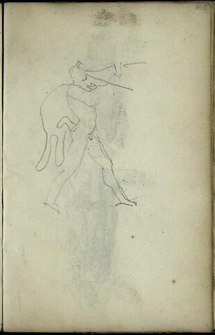 Croquis d'un faune, de profil à droite, jouant de deux flûtes