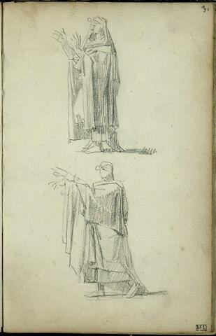 Deux personnages drapés, de profil à gauche