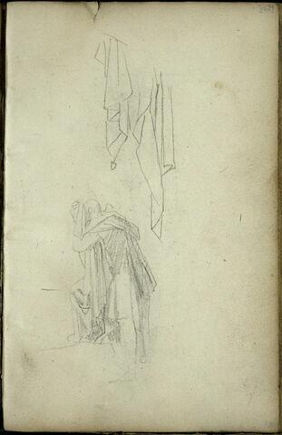 Personnage drapé, de profil à gauche et croquis de draperie