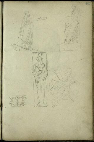 Quatre croquis de personnages antiques, dont deux figures égyptiennes et croquis décoratif