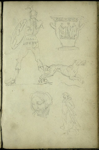 Cinq croquis d'après l'antique : guerrier de dos, vase, chien courant vers la droite, tête et silhouette drapée