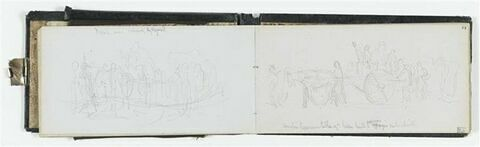 Etude de composition : chariot avec figures ; annotations manuscrites