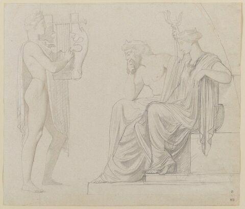 Orphée aux Enfers, jouant de la lyre devant Proserpine et Pluton
